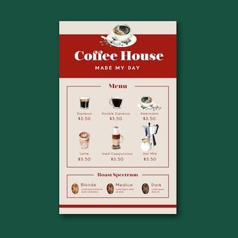 Menu de café maison americano, cappuccino, menu expresso, infographie, illustration aquarelle