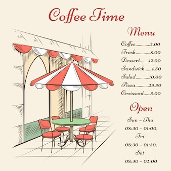 Menu de café de rue dessiné à la main