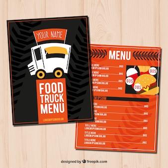 Menu de camion alimentaire à la main avec style moderne