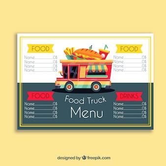 Menu de camion alimentaire avec sandwich