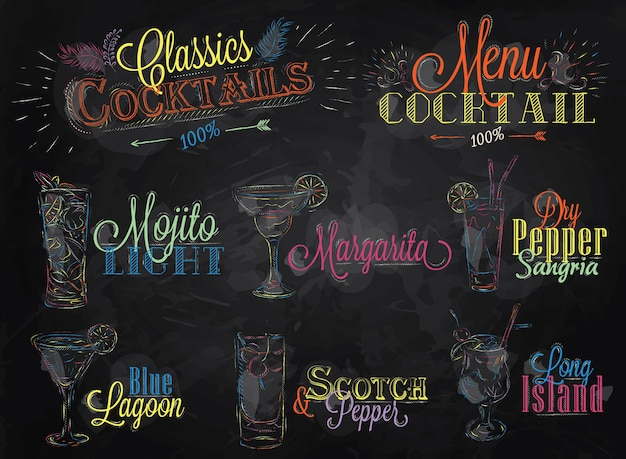 Menu cocktail craie de couleur