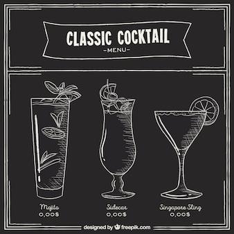 Menu de cocktails dans le style tableau noir