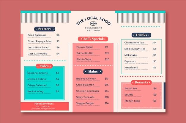 Menu coloré du restaurant modèle
