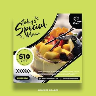 Menu coloré de nourriture de restaurant social media post and love