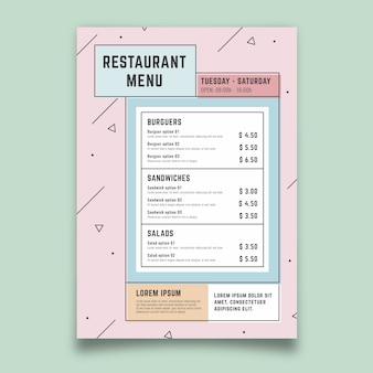 Menu coloré de restaurant de modèle