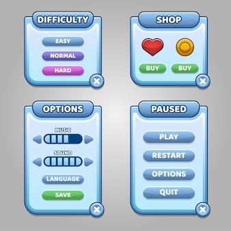 Menu complet de l'interface utilisateur graphique gui.