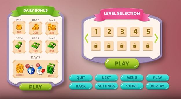 Menu contextuel de l'interface utilisateur du jeu occasionnel