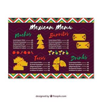 Menu créatif du restaurant mexicain