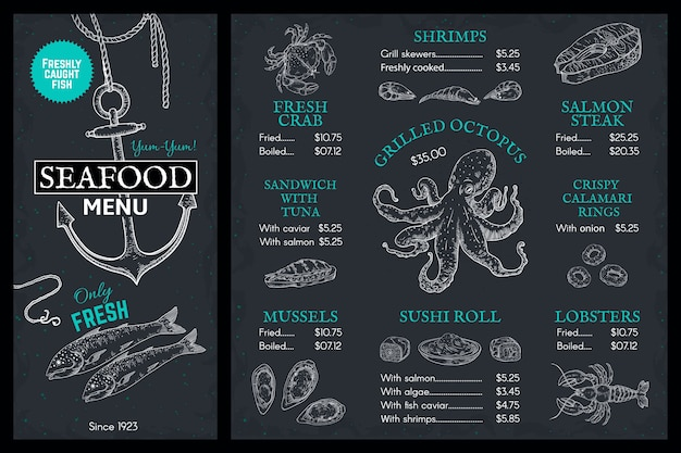 Menu de croquis de fruits de mer. brochure de restaurant de poisson doodle, couverture vintage avec saumon de homard et crabe