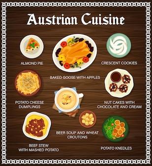 Menu de cuisine autrichienne. plats traditionnels