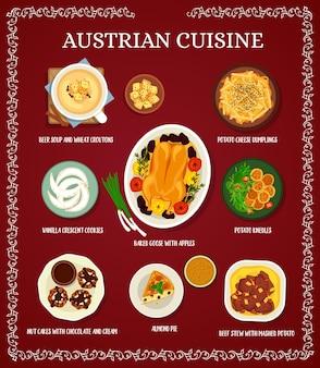 Menu de cuisine autrichienne avec plats de viande et dessert