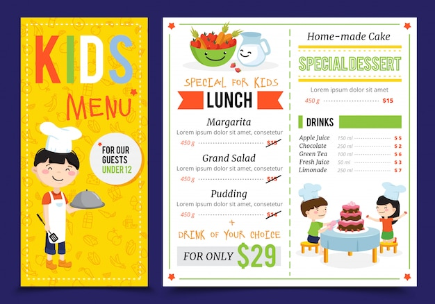 Menu de cuisine enfants illustration avec illustrations de plat doodle style enfants cuisent des personnages et éléments de menu modifiables vector illustration
