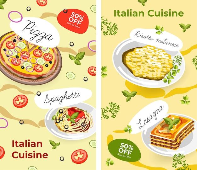 Menu de cuisine italienne et promotions avec soldes
