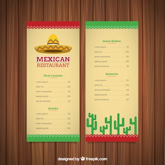 Menu cuisine mexicaine avec un chapeau mexicain et cactus