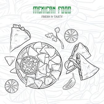 Menu de cuisine mexicaine dessiné à la main