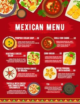 Menu de cuisine mexicaine