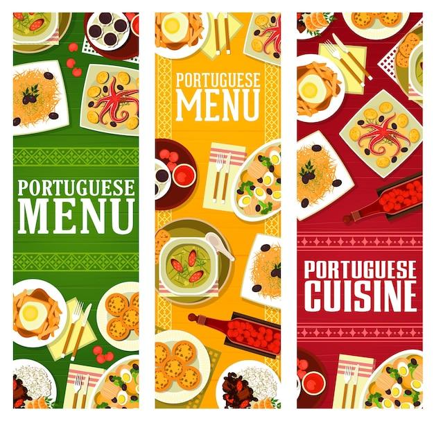 Menu de la cuisine portugaise bannières vectorielles de plats de viande, de fruits de mer et de légumes, desserts et liqueur de cerise. ragoût de haricots, poisson salé, sandwich frites et soupe de kale, tarte pasteis, mousse au chocolat, poulpe