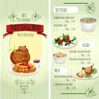 Menu de la cuisine traditionnelle