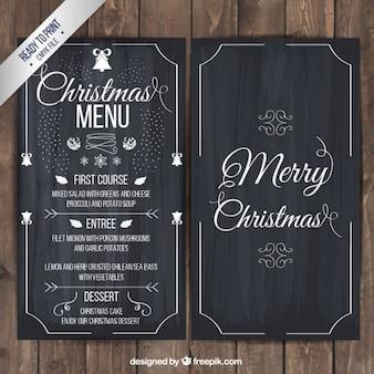 Menu de Noël sur le tableau noir