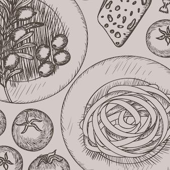 Menu dessiné cuisine italienne