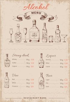 Menu dessiné à la main de boissons alcoolisées