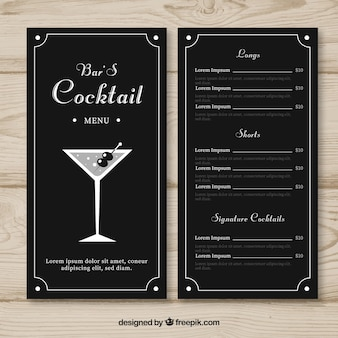 Menu avec différents cocktails dans un style dessiné à la main