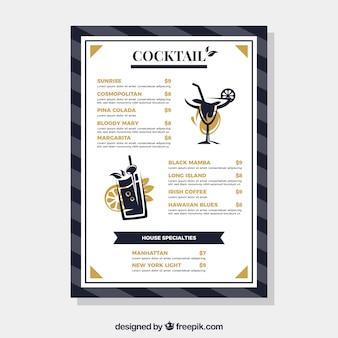 Menu avec différents cocktails dans un style plat