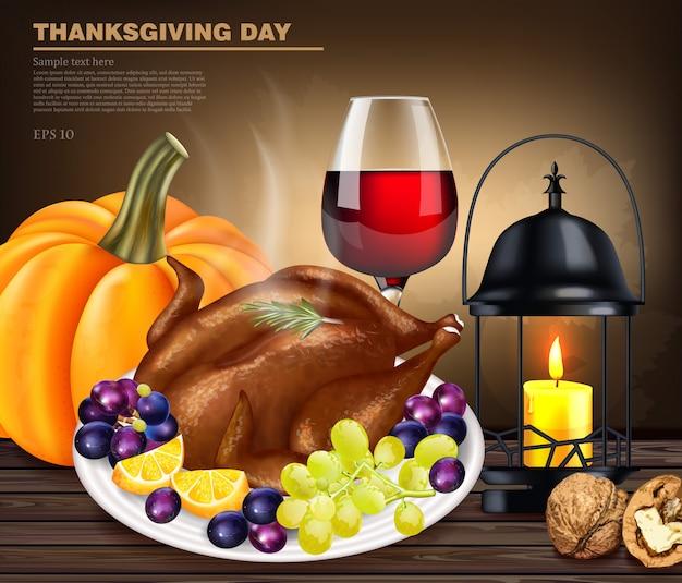 Menu de dinde de joyeux thanksgiving