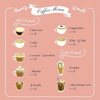 Menu du café vintage