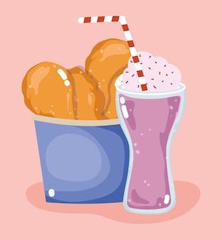 Menu du dîner savoureux avec poulet rôti en boîte et milkshake
