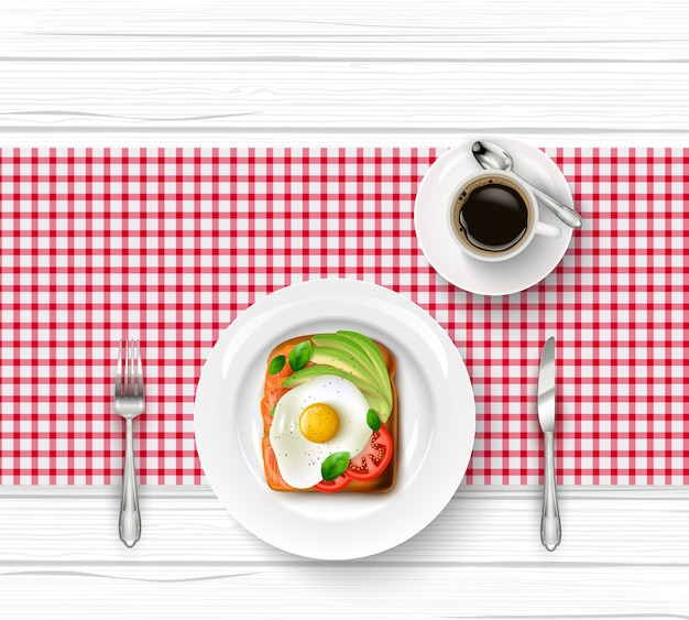 Menu du petit déjeuner avec oeuf au plat