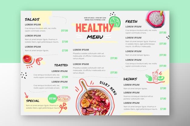 Menu du restaurant aliments sains