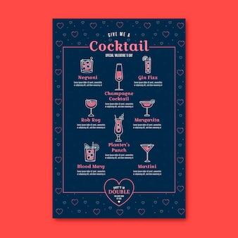 Menu du restaurant de cocktails de la saint-valentin