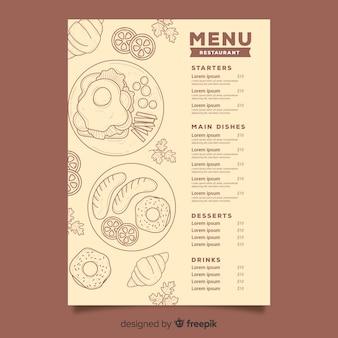 Menu du restaurant avec des croquis de nourriture