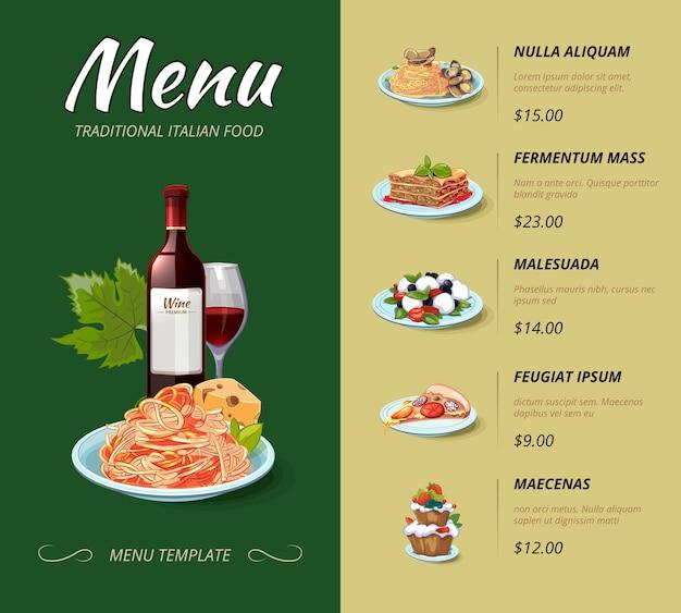 Menu du restaurant de cuisine italienne