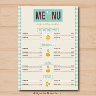 Menu du restaurant avec différentes catégories