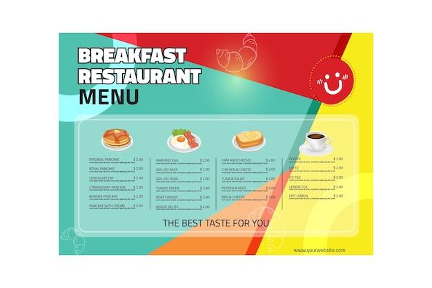 Menu du restaurant du petit déjeuner
