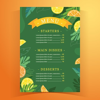 Menu du restaurant d'été tropical