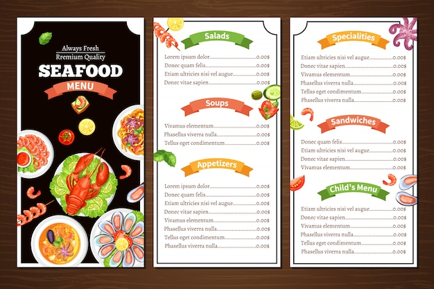 Menu du restaurant de fruits de mer