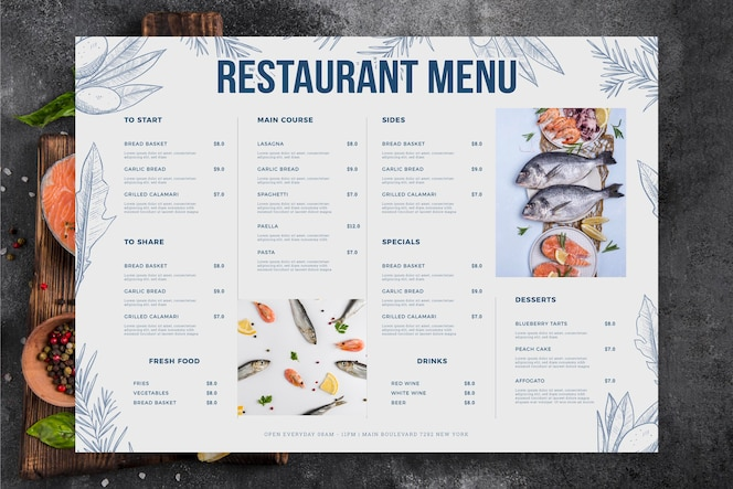 Menu du restaurant avec fruits de mer