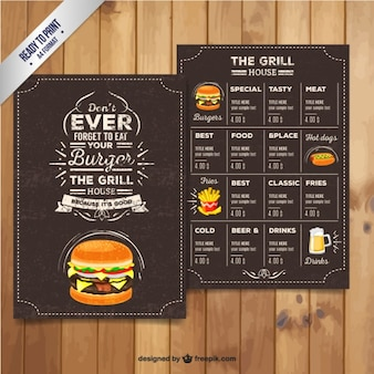 Menu du restaurant Grill dans le style rétro