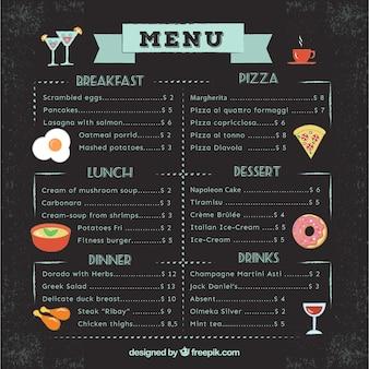 Menu du restaurant avec illustrations de repas