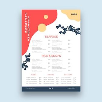 Menu du restaurant japonais