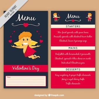 Le menu du restaurant le jour de valentine bleu et rose