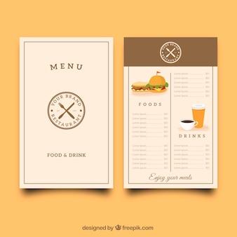 Menu du restaurant avec un logo rétro