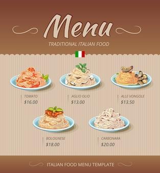 Menu du restaurant de pâtes avec plats et prix