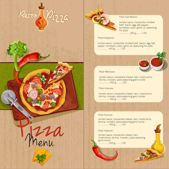 Menu du restaurant pizza