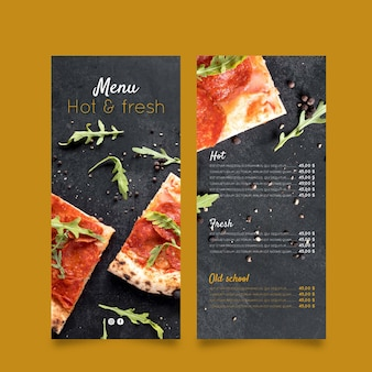 Menu du restaurant de pizza