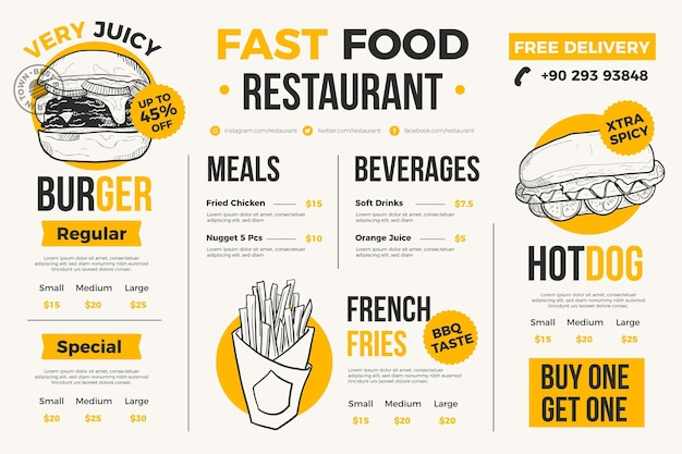Menu du restaurant pour plateforme numérique
