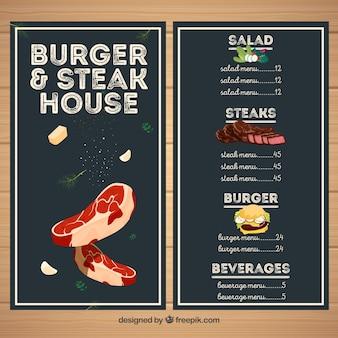 Menu du restaurant steakhouse
